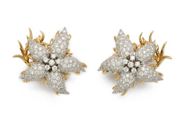 schlumberger retro starfish 18k and diamond earrings