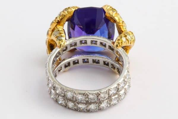schlumberger tanzanite, diamond & gold ring