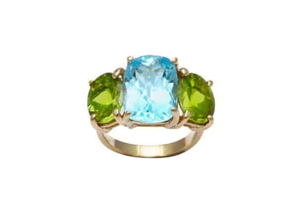 three stone peridot & topaz ring