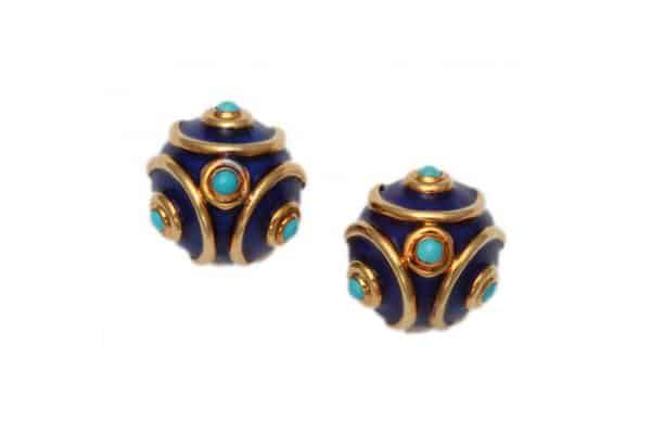 tiffany retro guilloche enamel earclips ca.1960s