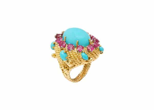 turquoise, ruby and 18k cocktail ring