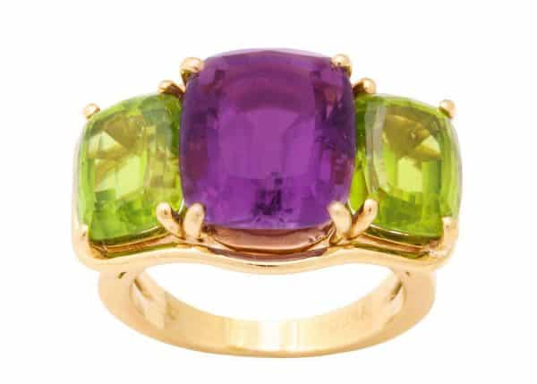 verdura amethyst, peridot and 18k three stone ring
