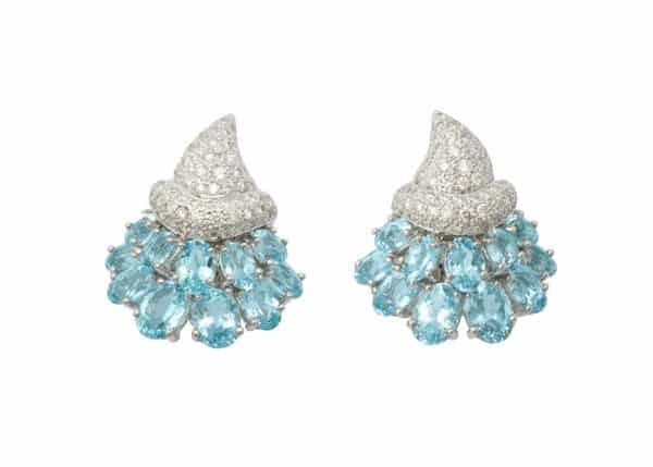 verdura aquamarine and diamond cornucopia earrings