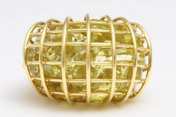 "verdura citrine and eighteen carat gold ""caged"" ring"