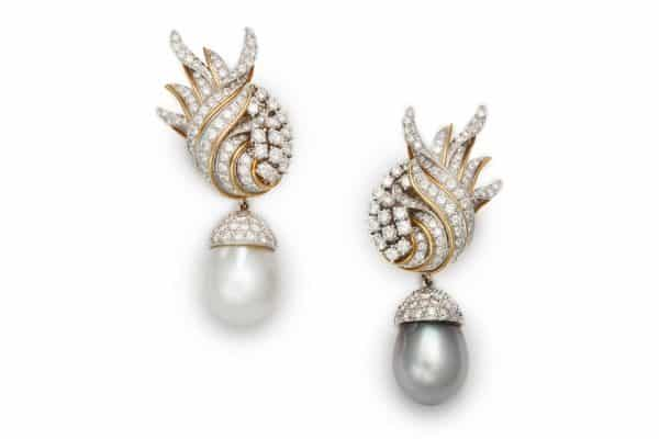 verdura diamond flame white and black pearl earclip
