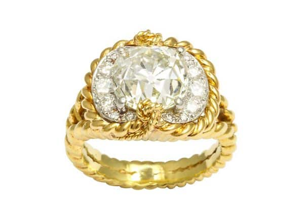 verdura diamond, platinum and eighteen carat gold ring