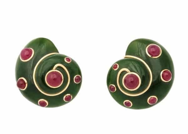 "verdura nephrite, jade, ruby spiral ""shell"" earrings"