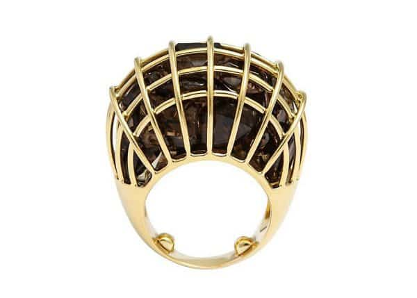 "verdura smokey quartz and eighteen carat gold ""caged"" ring"