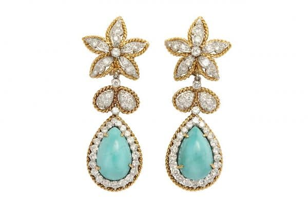 david webb vintage turquoise and diamond earrings