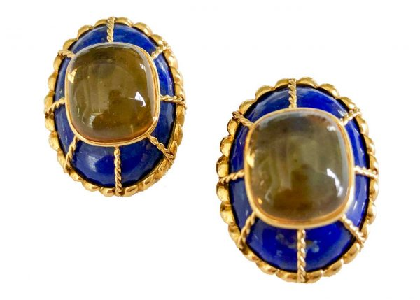 tony duquette lapis citrine earrings