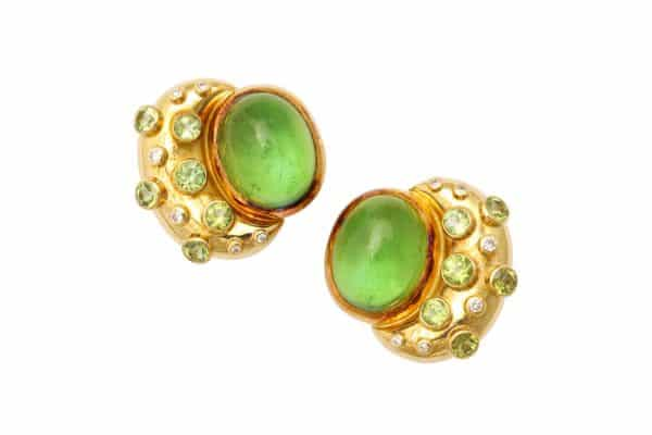 gage peridot diamond 18k earrings