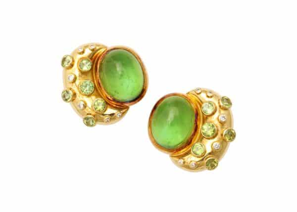 gage peridot diamond 18k earrings