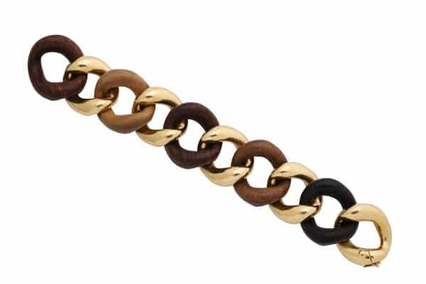 seaman schepps wood and gold curblink bracelet