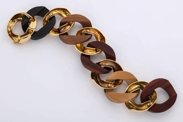 seaman schepps wood and gold curblink bracelet