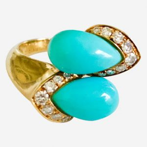 van cleef & arpels turquoise diamond ring