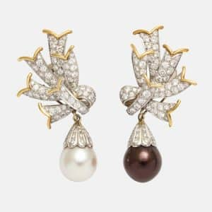 schlumberger black and white pearl drop earrings