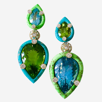 nicholas varney peridot aquamarine earrings