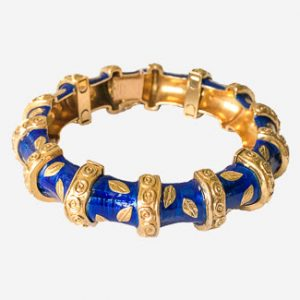 van cleef & arpels blue enamel and 18k cuff