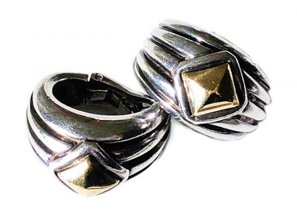 hermes silver + 18k gold earrings