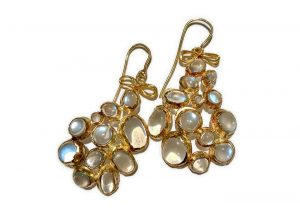Judy Geib 18 k gold and opal geometric earrings