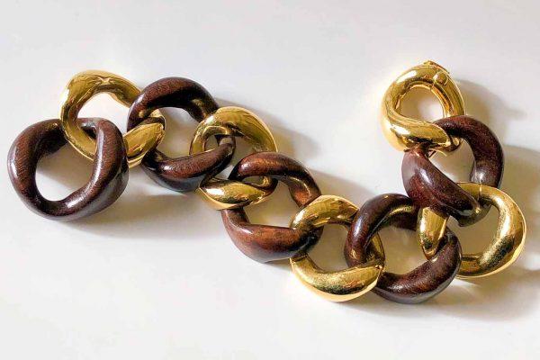 Seaman Schepps wood gold curblink bracelet