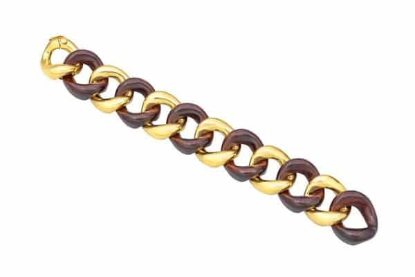Seaman Schepps wood gold curb link bracelet
