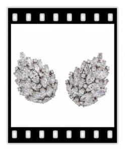 van cleef 15 carat diamond leaf earrings, ca. 1955
