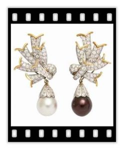 schlumberger diamond, platinum and cultured pearl retro earrings