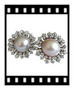 van cleef vintage pearl and diamond earrings