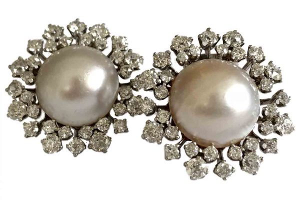 van cleef vintage pearl and diamond earrings