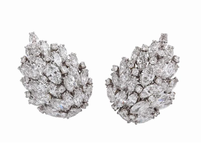 van cleef and arpels 1940s diamond leaf earrings