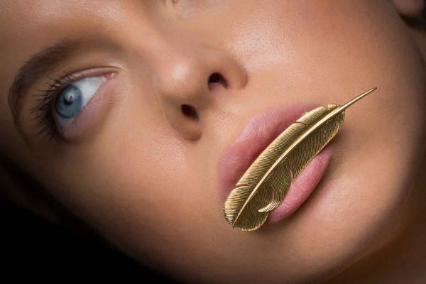 hermes 18k gold feather pin