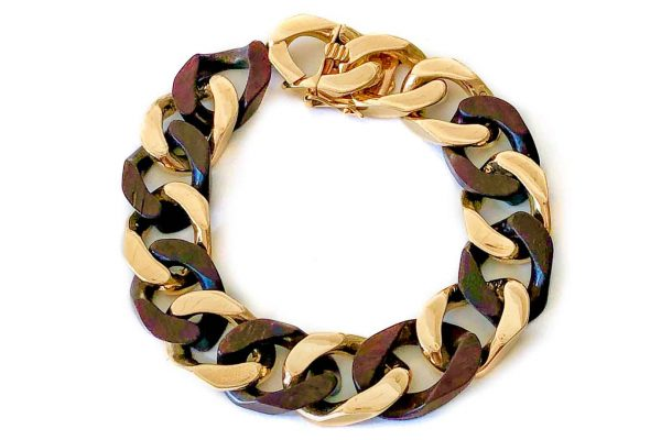 van cleef cocobola wood and gold curb link bracelet