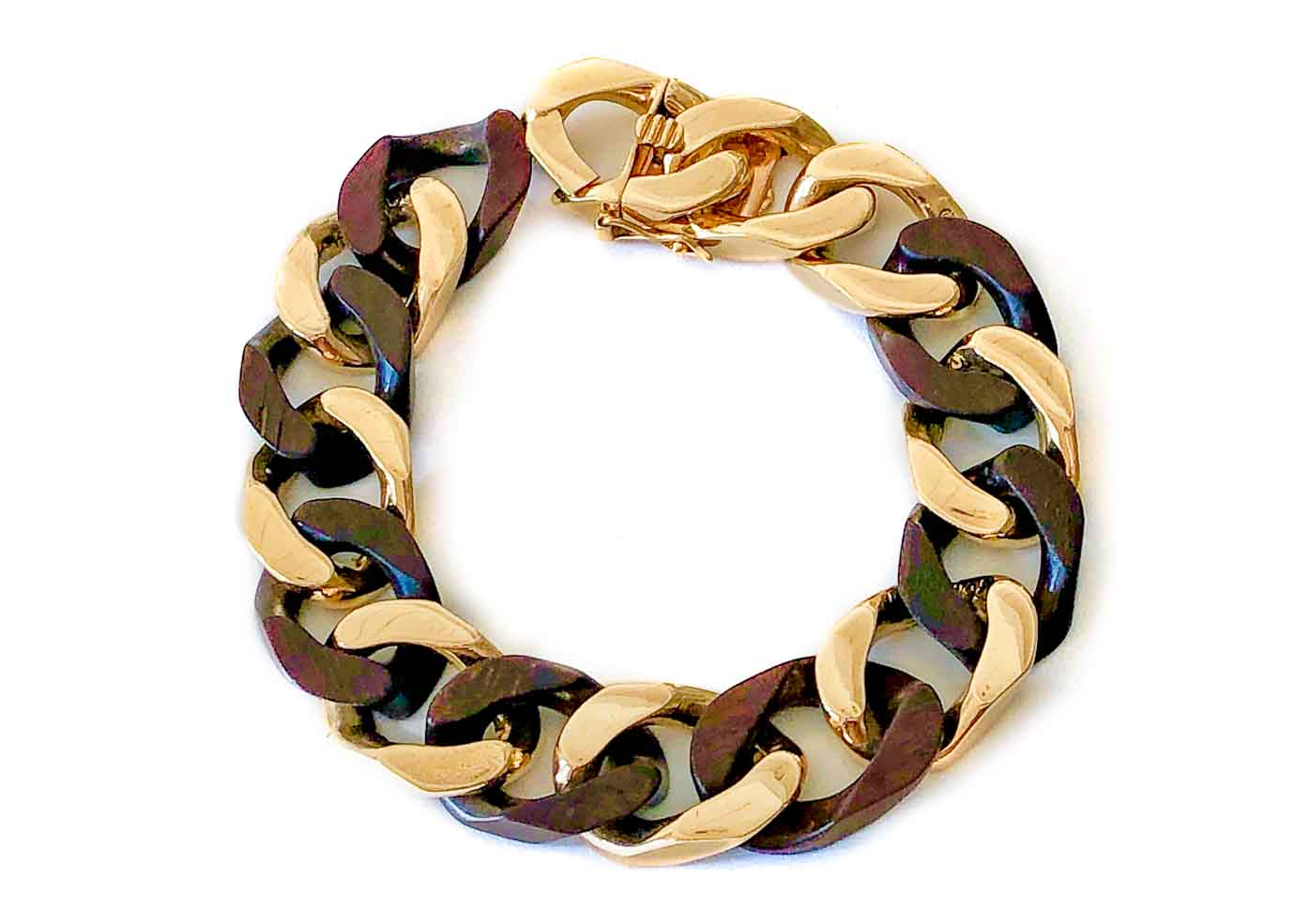 van cleef cocobola wood and gold curb link bracelet