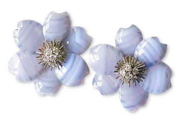 blue agate rose de noel van cleef earrings