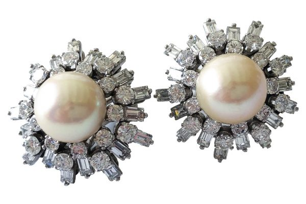 pierre sterle diamond and pearl earrings