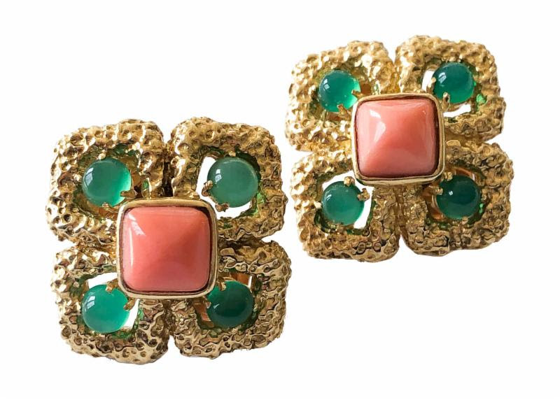 vintage van cleef and arpels chrysoprase earrings