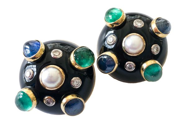 verdura black jade earrings