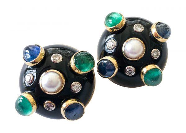 verdura black jade earrings