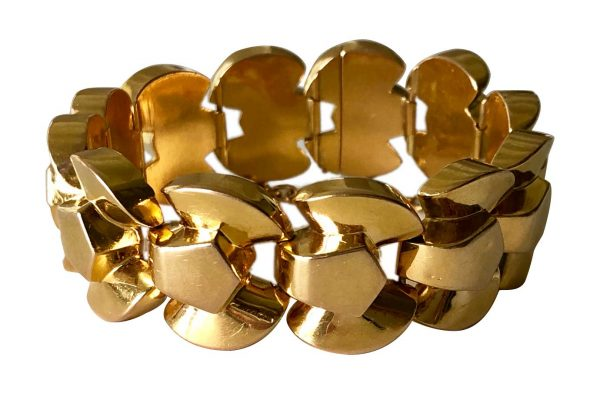 french 40's graphic rounded link bracelet
