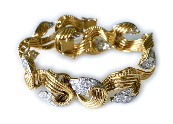 cartier fifties gold and diamond bracelet