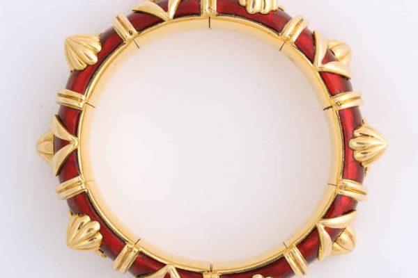 schlumberger red paillone enamel bracelet