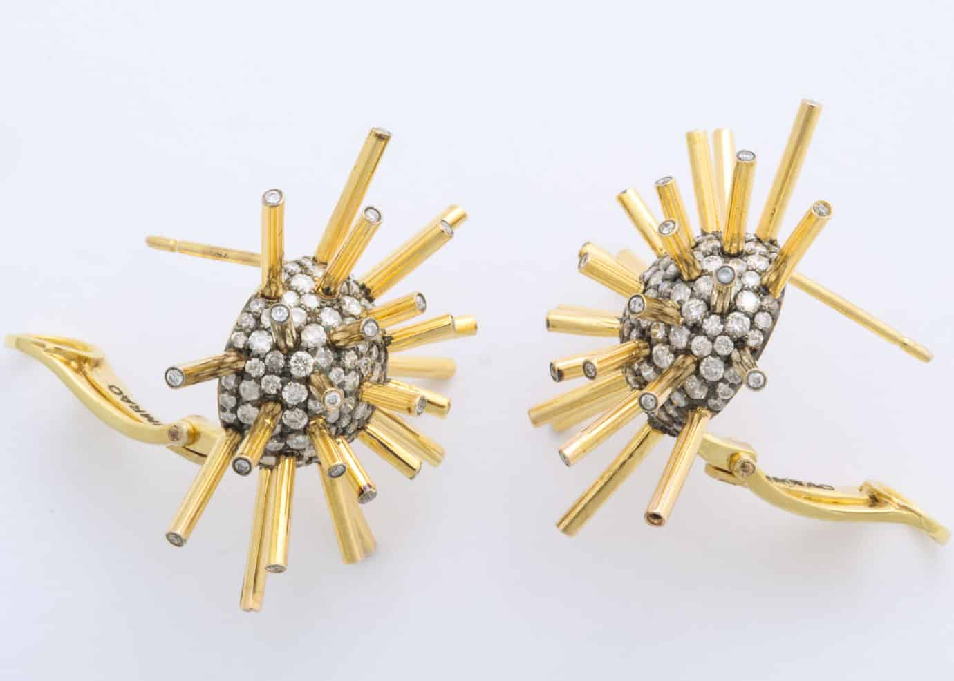 umrao gold diamond sputnik earrings