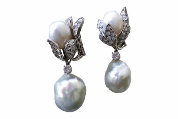 david webb pearl and diamond earrings