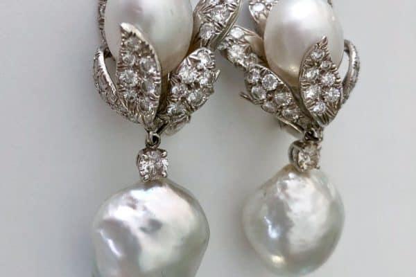 david webb pearl and diamond earrings