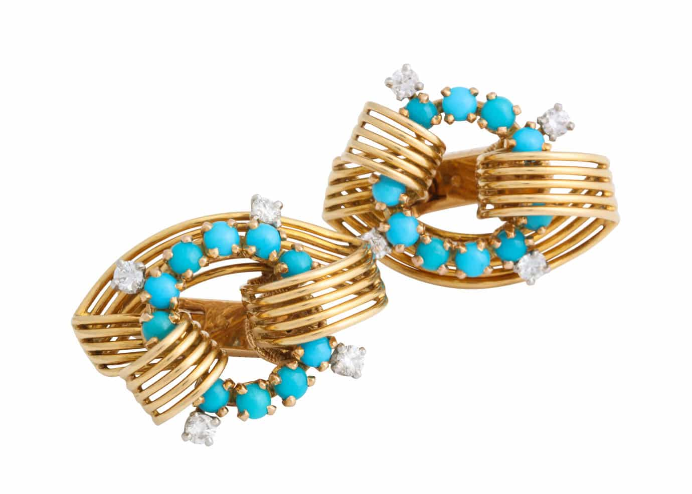 cartier gold and turquoise earrings