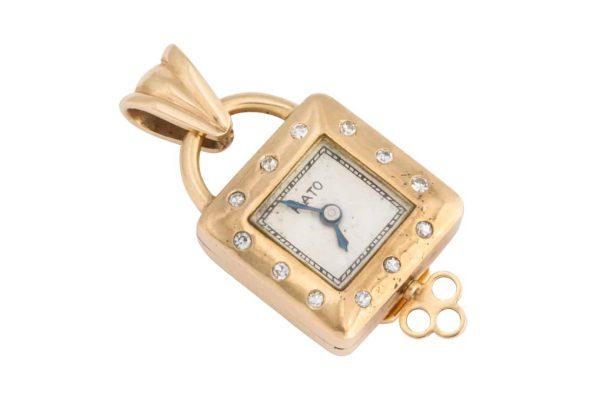 paul flato gold and diamond pendant watch