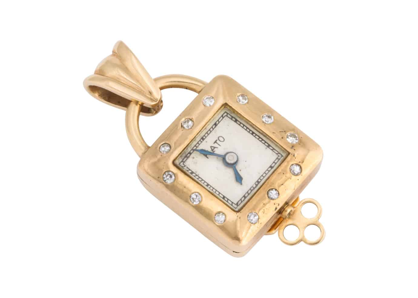 paul flato gold and diamond pendant watch