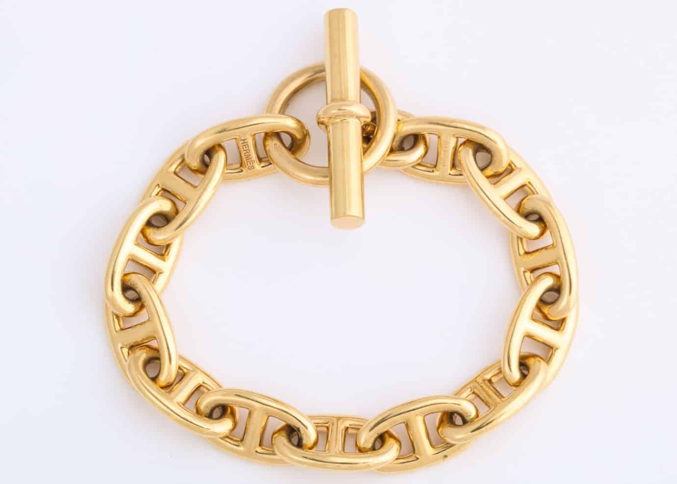 hermes 18k gold smooth link chaine d'ancre bracelet