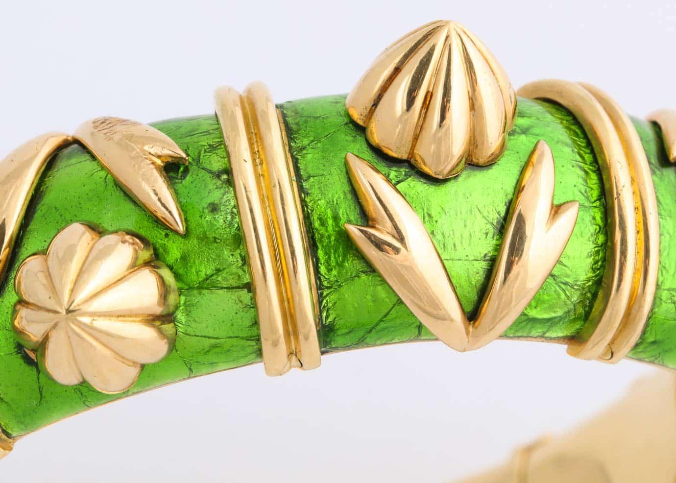 schlumberger green paillone enamel bracelet